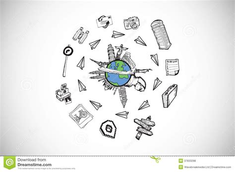 doodle world composite image of landmarks of the world doodle royalty