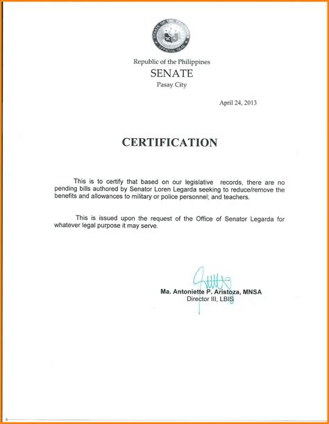 certification letter of previous employment 5 sle of certificate of employment for teachers edu