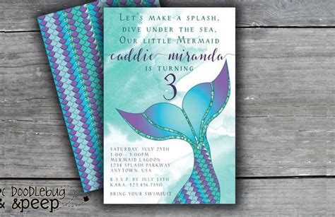 mermaid invitation template 42 birthday invitation templates free sle