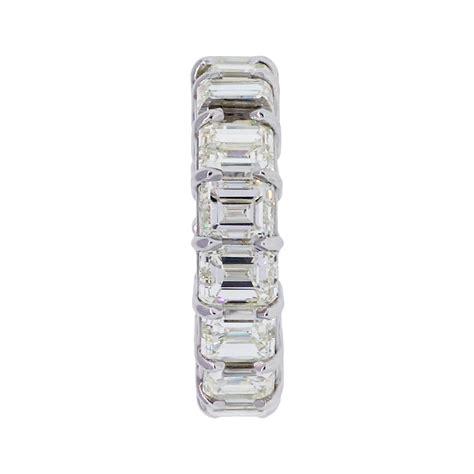 platinum 15ctw emerald cut eternity band ring