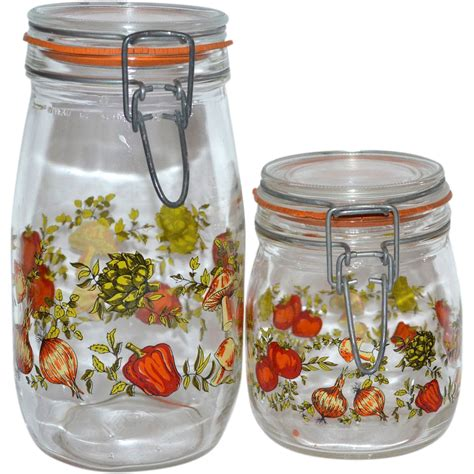 1970s set of 2 glass kitchen canister jars from