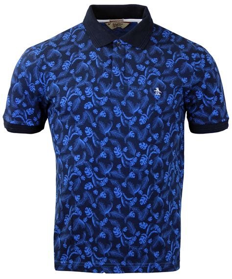 leaf pattern shirt original penguin juntas leaf pattern retro mod polo shirt
