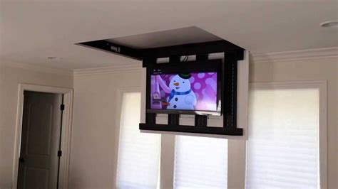 swing down tv mount motorized fully automated flip down ceiling tv lift 46 quot 60