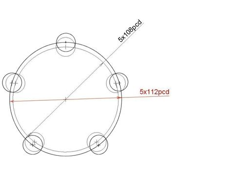 bolt pattern drawing 5x108 to 5x112 wobble bolts rms motoring forum