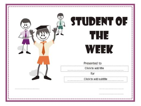student of the week certificate template student of the week certificate free certificate