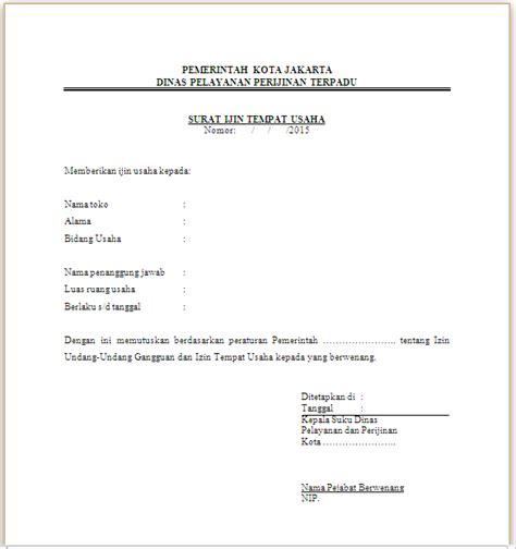 contoh surat izin tempat usaha situ