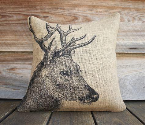 Deer Pillow by Deer Pillow Burlap Pillow Cushion Rustic Decorative