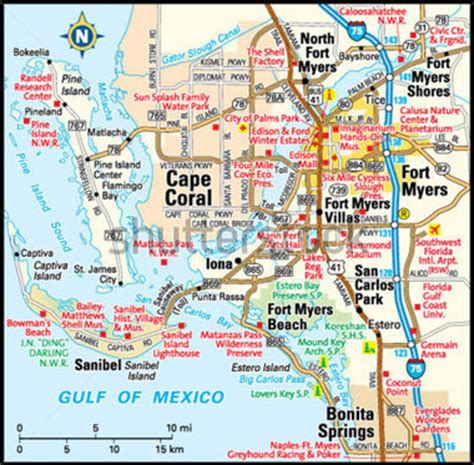map of ft myers florida area fort myers florida area map stock vector clipart me