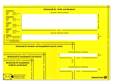 Brief Schweiz Porto Deutsche Post Formatschablone Brief Inland Shop Deutsche Post