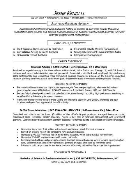 financial advisor resume exles exle financial advisor resume free sle