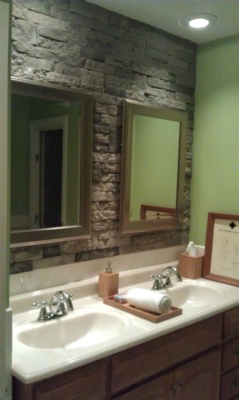 accent wall in bathroom airstone stone accent wall in bathroom can t wait to do