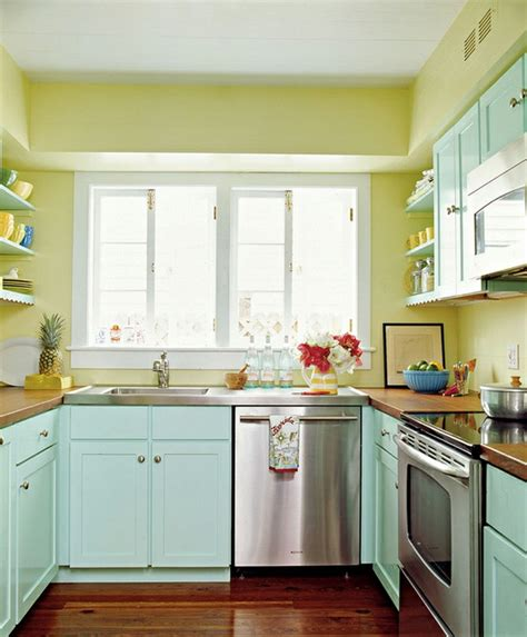 turquoise and yellow kitchen pop culture and fashion magic home decor the look