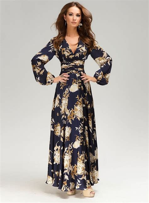 Sleeve V Neck Maxi Dress v neck lantern sleeve floral print maxi dress azbro
