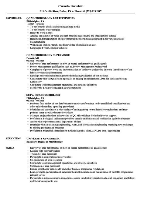 microbiology lab technician resume sle qc microbiology resume sles velvet
