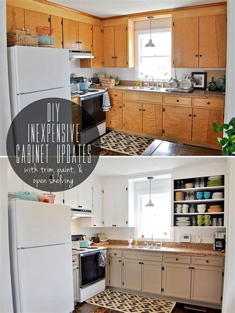 inexpensively update  flat front cabinets  adding trim paint  semi open shelving