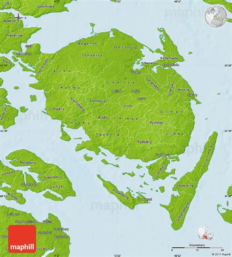 physical map of denmark physical map of fyn