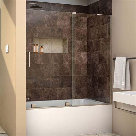 dreamline mirage          semi frameless sliding tub door  brushed nickel