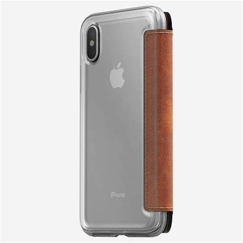 Nomad Clear For Iphone X Brown Original nomad clear folio leather iphone x wallet gadgetsin