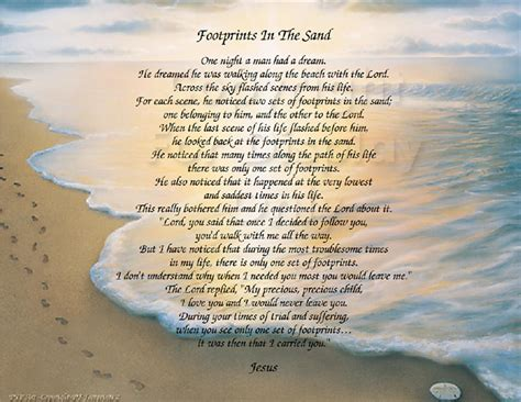printable version of footprints poem footprints in the sand inspirational print grace design