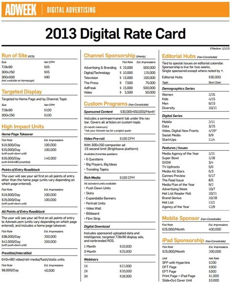 free advertising rate card template build rate cards in 10 steps