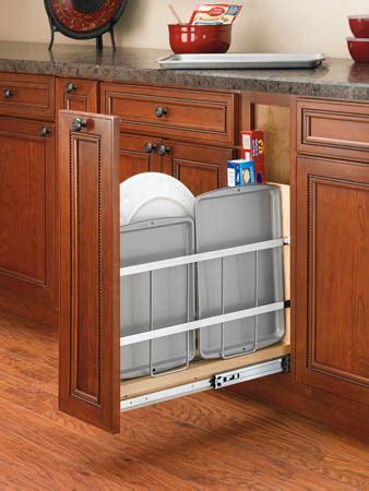 kitchen cabinet divider rack revashelf 5 quot wood tray divider foil holder pullout