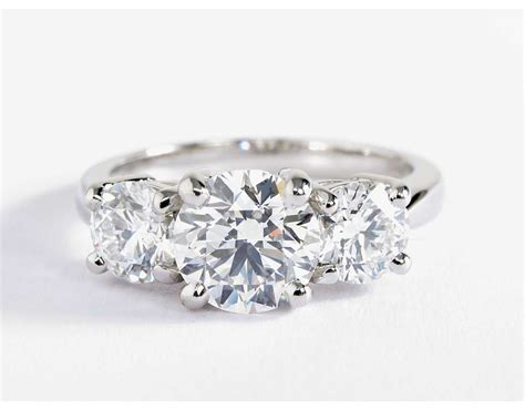 Three Engagement Ring by Classic Three Engagement Ring In Platinum