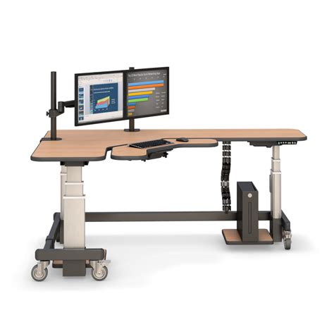 Corner Standing Desk With Two Monitor Arm Stands Monitor Desk Stands