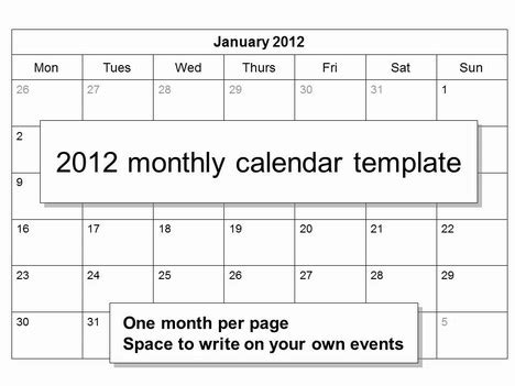 templates free 2012 free 2012 monthly calendar template