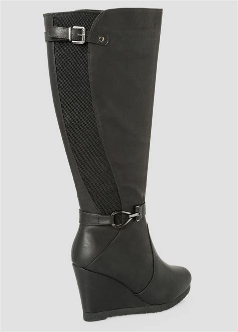 wide width wide calf boots plus size wedge boot wide calf wide width 068 ash23114
