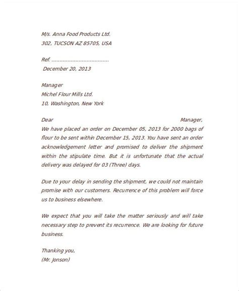 Business Letter In Business Communication Pdf sle of complaint letter in business communication