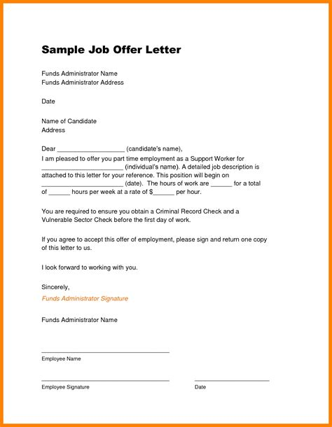 Template Letter Of Offer Agreement 12 Offer Template Reimbursement Letter