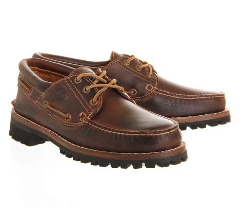 timberland boat shoes au timberland heritage 3 eye boat shoe in brown for men lyst