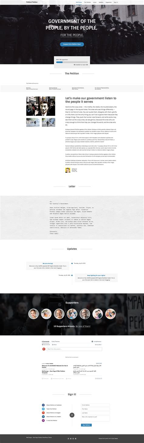 themeforest quality standards petition wechange one page wordpress theme by
