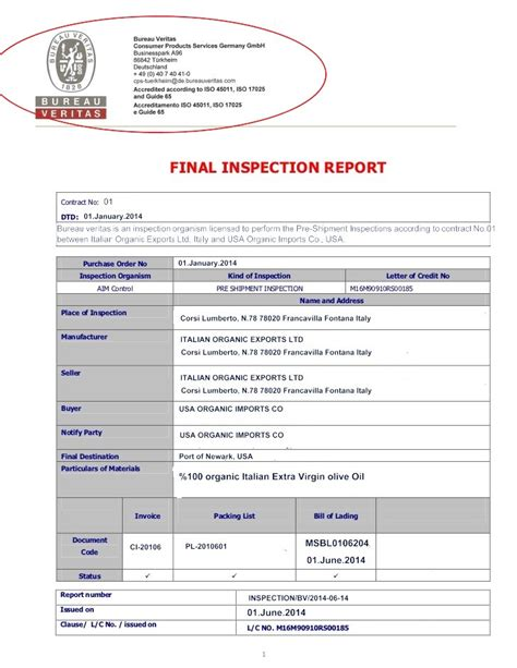 certificate of inspection template inspection certificate discrepancies inspection
