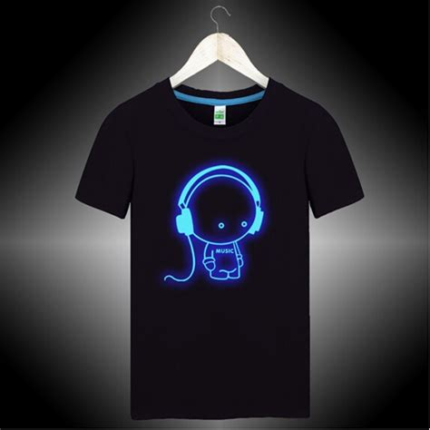 Tshirt Glowsind 4 headphone t shirts for dj club glow in the shirt quality cotton brand