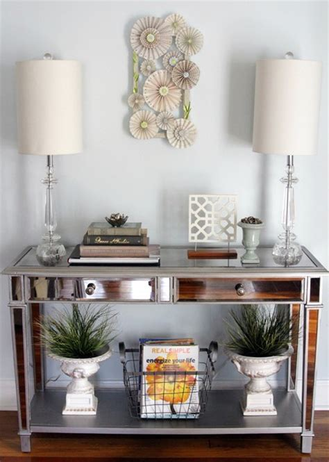 Entryway Table Decor Mirrored Console Table Eclectic Entry Other Metro By Freeman Design Co