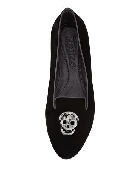 Embroidered Skull Slipper by Mcqueen Embroidered Skull Slipper Black