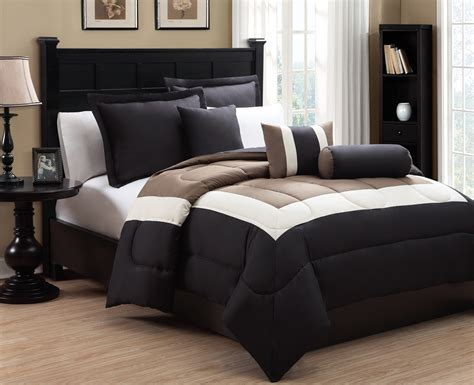 6 piece queen tranquil black and taupe comforter set ebay