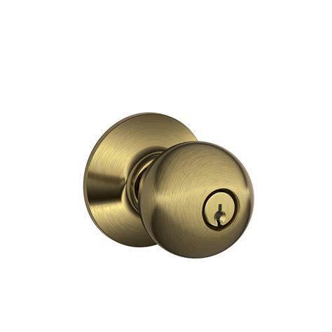 shop schlage f orbit antique brass keyed entry door