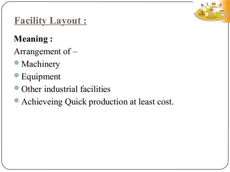 final layout meaning facility layout