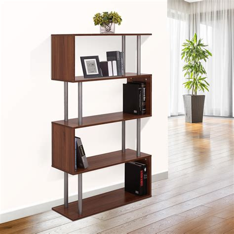 modern 4 shelf bookcase bookshelf display shelves home office living room bedroom home decor homcom wooden bookcase s shape storage display unit 4 shelf home d 233 cor walnut aosom ca