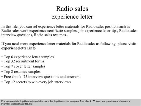 experience certificate format resume sles radio sales experience letter