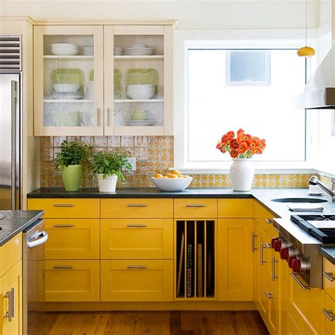 kitchens with yellow cabinets colorful yellow kitchen color inspiration