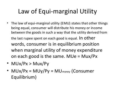 law of equi marginal utility consumer behavior