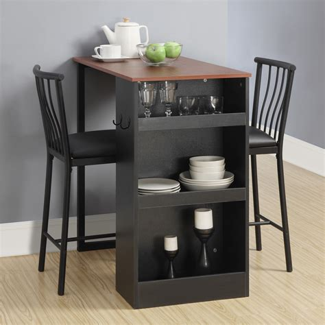 pub height kitchen table sets dorel living 3 pc counter height bar set walnut black