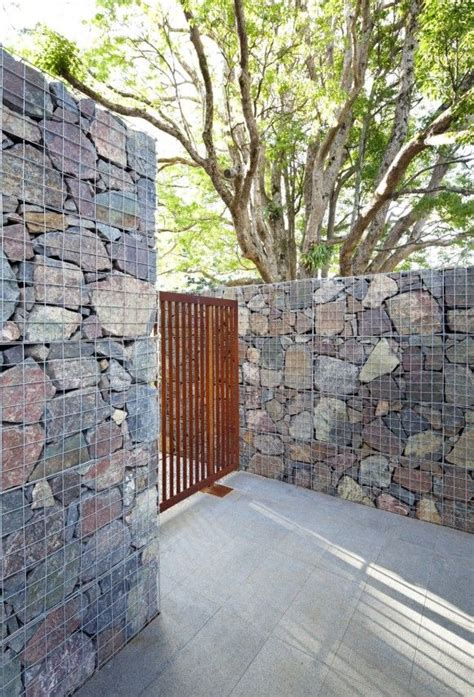 gabion cage stone wall gabions pinterest