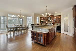 Huge kitchen and dining room open concept kitchen is large with door