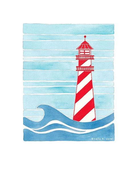 nautical painting nautical nursery art lighthouse art in red white and blue