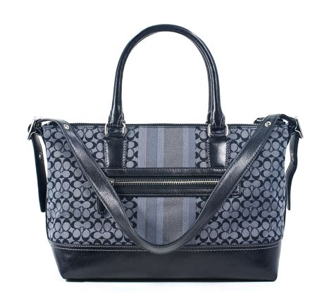 Fssil Molly Satchel 618btc 24 coach legacy signature stripe molly satchel black grey new ebay