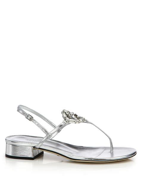 High Heel Swarovski Gucc1 868 1 gucci gg metallic leather sandals in metallic lyst